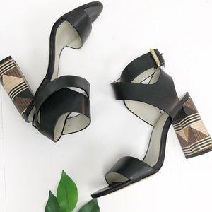 1. STATE | Rayon Aztec Black Heel Sandal